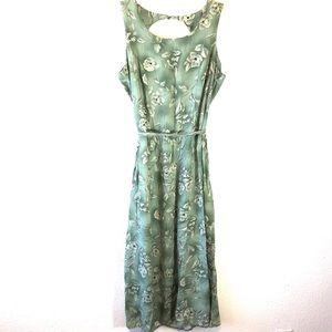 3/25 Boho Prairie Strap Dress Floral Maxi Sz 12
